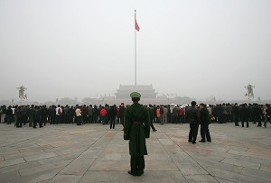 Fog lingers over Tiananmen Square, Beijing. (Cancan Chu/Getty Images)