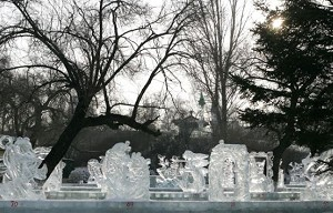 Animal ice sculptures. (Cancan Chu/Getty Images)