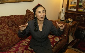 Rebiya Kadeer, the exiled leader of the Uighur ethnic group in China and a candidate for the 2006 Nobel Peace Prize.  The Uighurs accuse the ruling Chinese of political, religious and cultural repression. (Stephen J. Boitano/AFP/Getty Images)