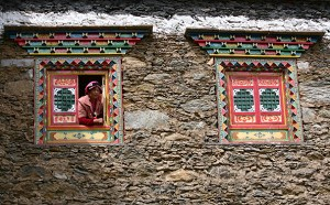 Windows of a traditional Tibetan house. (Getty Images)