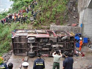 A traffic accident on April 23, 2007,in Sichuan's Chongqing City left 26 dead and six injured. (The Epoch Times)