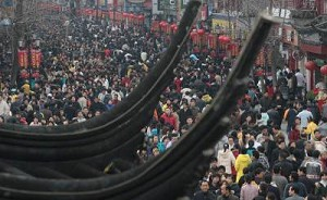 """A crowd in Nanjing of Jiangsu Province, China, March 4, 2007. The latest population survey result shows, """"Wang"""" as the most popular surname in China. (China Photos/Getty Images)"""
