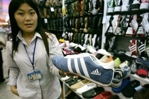 Counterfeit name-brand athletic shoes sold in a Beijing shoe store. (Peter Parks/AFP/Getty Images)