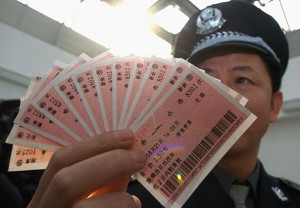 Counterfeit train tickets in Chongqing City, Sichuan Province. (China Photos/Getty Images)