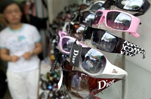 Counterfeit name-brand sun glasses sold on Shanghai streets. (AFP/Getty Images)