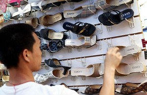 Counterfeit name-brand shoes sold on Shanghai streets. (AFP/Getty Images)