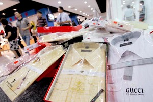 Counterfeit name-brand dress shirts displayed at the Beijing Administration for Industry and Commerce. (AFP/Getty Images)