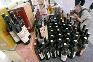 Counterfeit bottled wine displayed at the Beijing Administration for Industry and Commerce. (AFP/Getty Images)