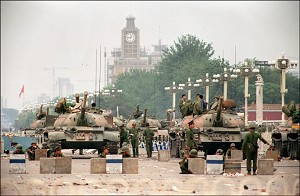 People's Liberation Army (PLA) tanks guard a strategic Chang'an Avenue leading to Tiananmen Square June 6, 1989. (Manuel Ceneta/AFP/Getty Images)
