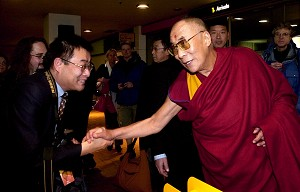 FRIENDLY FACE: His Holiness the Dalai Lama greeted Nick Wang in Mongolian when he discovered Nick hails from Inner Mongolia, China. The Dalai Lama visited New Zealand in June.  (Cameron Burnell Photography/Wellingtonian)