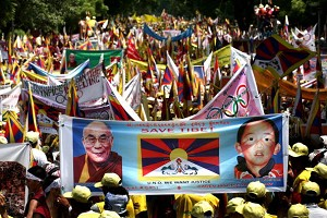 Tibetan activists take part in a demonstration in New Delhi to protest against a ceremony in Beijing marking the one-year countdown to the 2008 Olympic Games in China. (Pedro Ugarte/AFP/Getty Images)