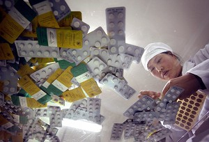 Images of pharmaceuticals in China. Under the rule of the Communist Party, China has been responsible for exporting tainted pharmaceuticals. (Frederic J. Brown/AFP/Getty Images)