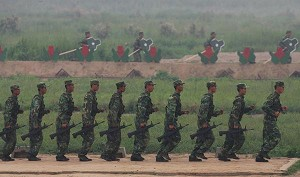 The Chinese army in training. (Getty Images)