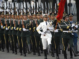 Chinese PLA soldiers march at a welcoming ceremony outside the Great Hall of the people, 03 September 2007. (Peter Parks/AFP/Getty Images)