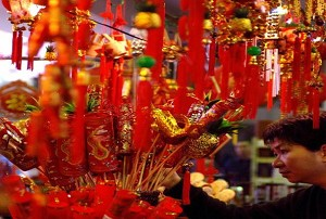 February 5, 2008, Taipei, decorations are sold in shops. (Sam Yeh/AFP/Getty Images)
