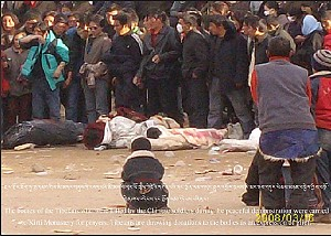 Tibetans carry the bodies of demonstrators shot by police to Kirti Monastery. (Phayul.com)