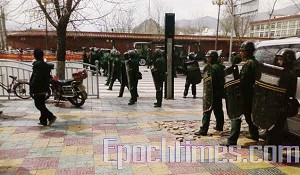 This photo was taken prior to the communist armed forces opening fire on protesters in Lhasa on March 14. (Han Xinxin/The Epoch Times)