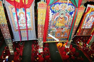 Monks recite sutras at the Sera Monastery in Lhasa. The Sera Monastery is one of the 3 great monasteries of Tibet along with the Gadan and Drepung Monasteries. (China Photos/Getty Images)
