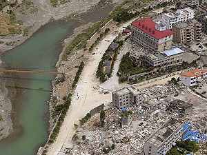 An aerial view of the damage done to the city of Beichuan by the May 12 quake, taken on May 27, 2008. (Liu Jin/AFP/Getty Images)