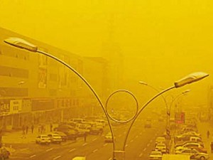 Sand and Dust obscures the Beijing skyline.