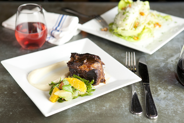 Braised short ribs with red wine glaze, maple celery root puree, and citrus salad. (Samira Bouaou/Epoch Times)