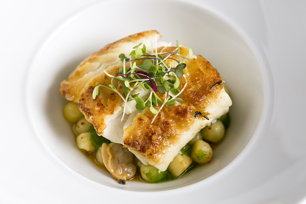 Cod with olive oil poached potatoes, clams, watercress puree, and beurre fondu.(Samira Bouaou/Epoch Times)