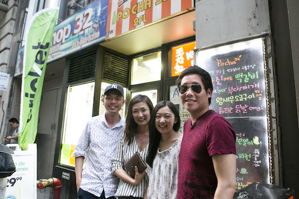 Claudia (2nd L) and her friends in front of Pocha 32. (Samira Bouaou/Epoch Times)