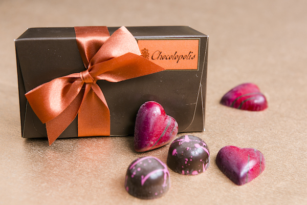 The Madagascar truffle, and the Raspberry Rose truffle from Chocolopolis. (Samira Bouaou/Epoch Times)