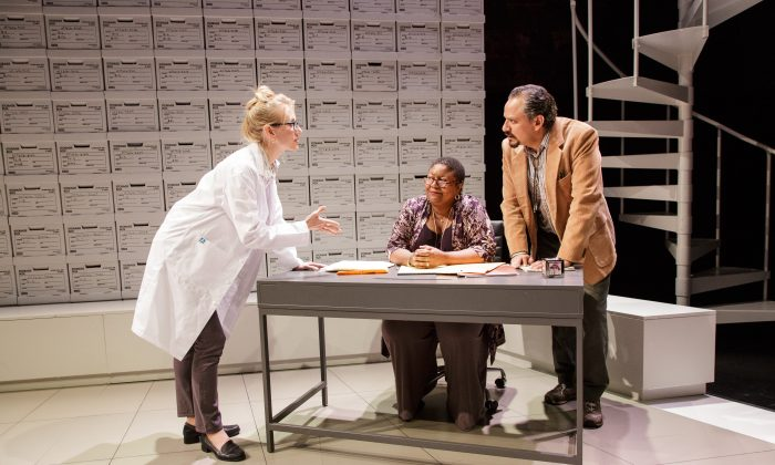 "(L–R) Tina Benko, Myra Lucretia Taylor, and Jesse J. Perez in a scene from ""Informed Consent,"" a play in which a world of data is pitted against a world of relationships. (James Leynse)"