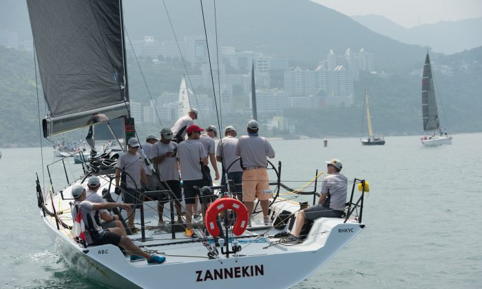 'Zannekin' the IRC Division-A series winner, getting ready for the last race of the Quest Yachting Typhoon Series 2015 in Port Shelter on Saturday August 22, 2015. (Bill Cox/Epoch Times)