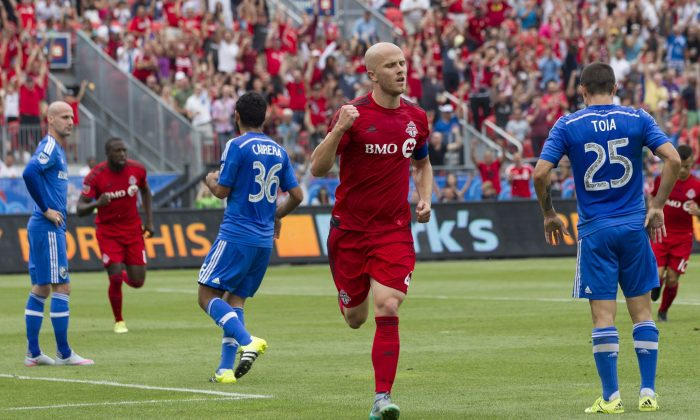 Toronto FC's Michael Bradley has a knack for scoring in 401 Derby games. His first-half goal helped TFC knock off the Montreal Impact on Aug. 29, 2015 at BMO Field in Toronto. (The Canadian Press/Chris Young)