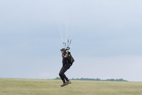 A parachuter with the West Point Parachute Team lands next to the runway at the York Air Show on Aug. 30, 2015 at Stewart International Airport in New Windsor. (Holly Kellum/Epoch Times)