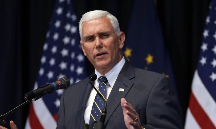 Indiana Gov. Mike Pence in Indianapolis on June 18, 2015. (AP Photo/Michael Conroy)