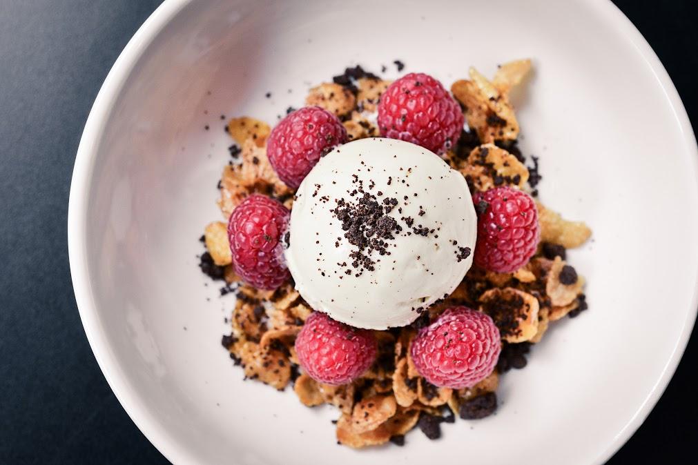 Breakfast 2.0, Horlicks ice cream, cornflake honeyjoy, oats, dried longans, cocoa coffee crumbs. (Courtesy of Ho Lee Fook)