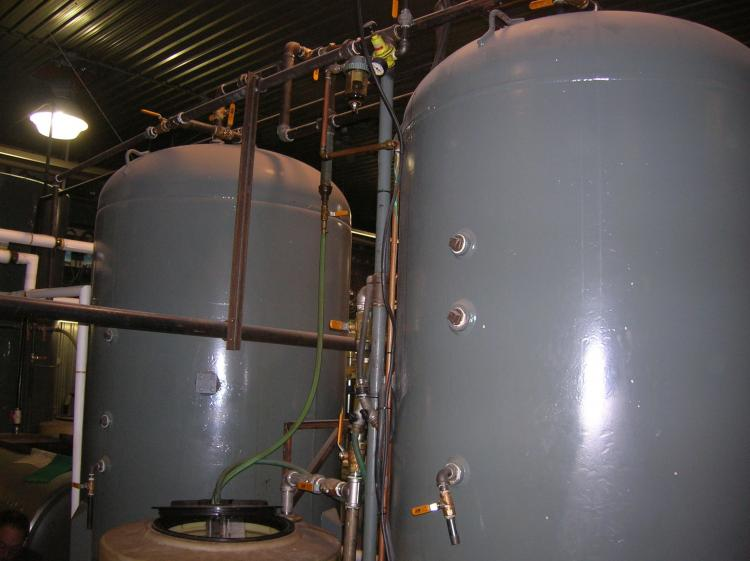Energy Innovation Corp's 1000-litre tanks where transesterification, the biodiesel brewing reaction, takes place. (Energy Innovation Corp)