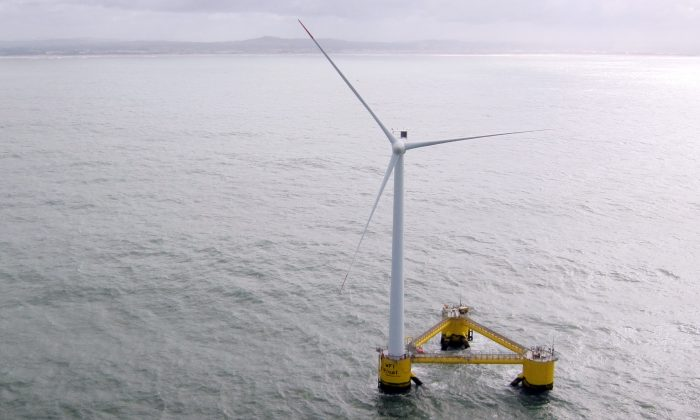 A picture taken on March 5, 2014 off the coast of Agucadoura, near Porto, shows a 'Windfloat,' or floating wind turbine (Marc Preel/AFP/Getty Images)