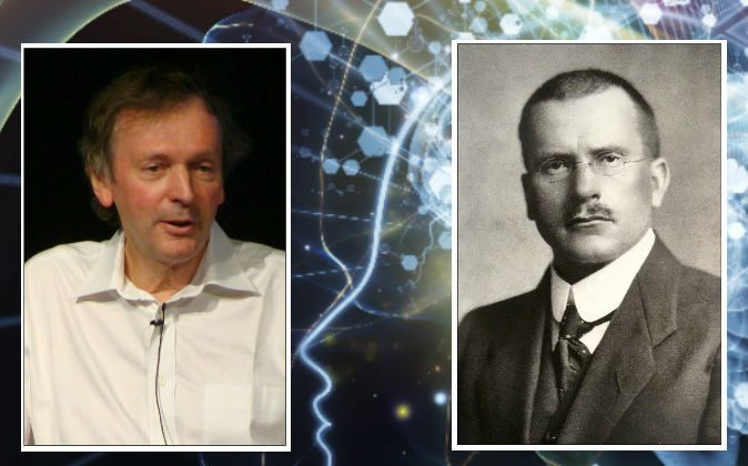 """Left: Biologist Rupert Sheldrake, who has written extensively about the """"extended mind."""" (Zereshk/CC BY) Right: Psychiatrist Carl Jung, who coined the term """"synchronicity."""" (Public Domain) Background: (AGS Andrew/iStock)"""