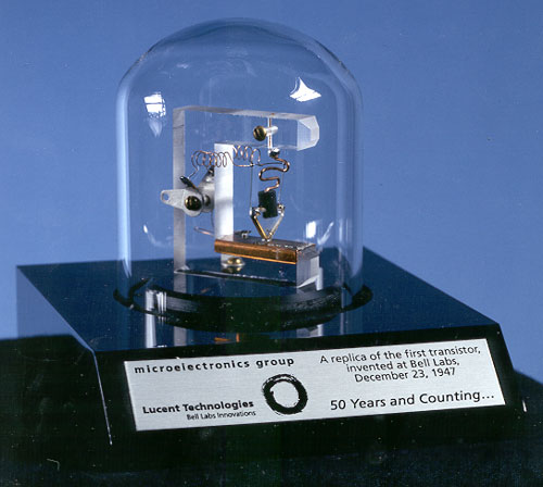 Replica of the first ever transistor, manufactured at Bell Labs in 1947.  (Lucent Technologies)