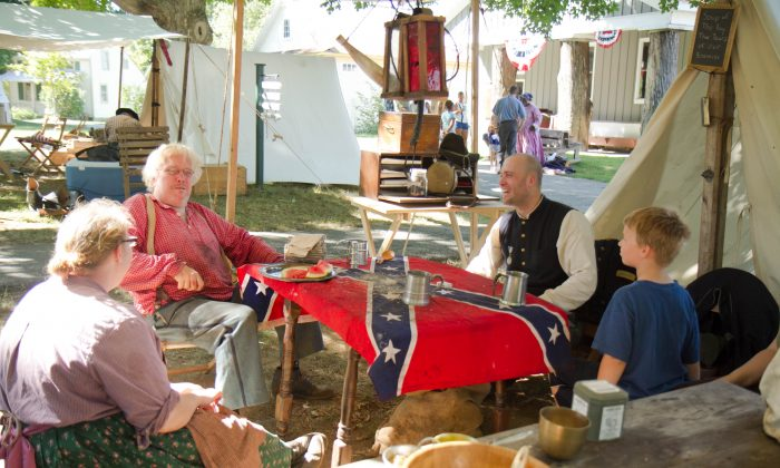 A lieutenant's camp during the Civil War re-enactment at Museum Village in Monroe on Sept. 6, 2015. (Holly Kellum/ Epoch Times)