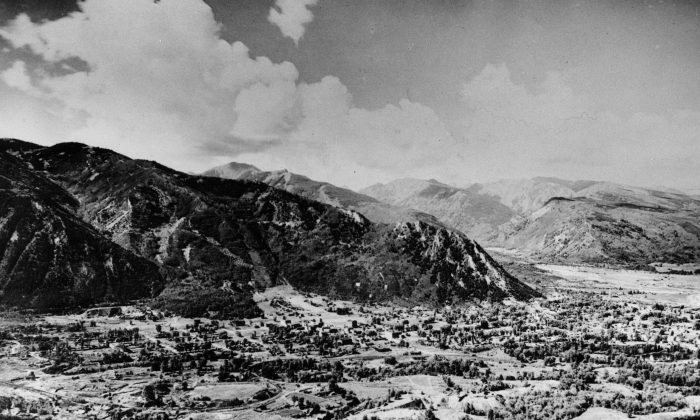This general view shows the silver mining town of Aspen, Col., in the Rocky Mountains, at an elevation of about 7,900 feet, and 180 miles southwest of Denver, in June 1949. (AP Photo)