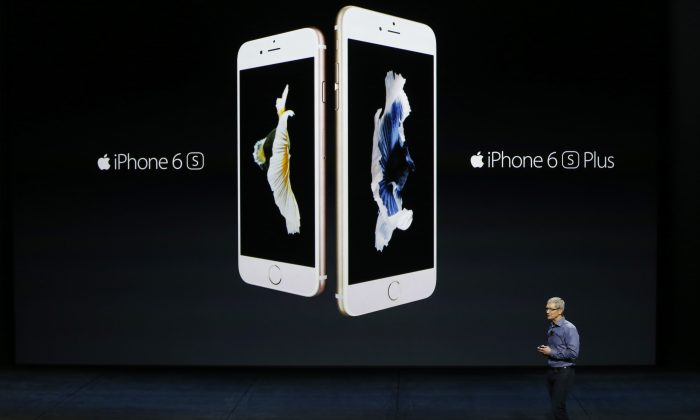 Apple CEO Tim Cook introduces the new iPhone 6s and 6s Plus during a Special Event at Bill Graham Civic Auditorium September 9, 2015 in San Francisco, California. (Stephen Lam/ Getty Images)