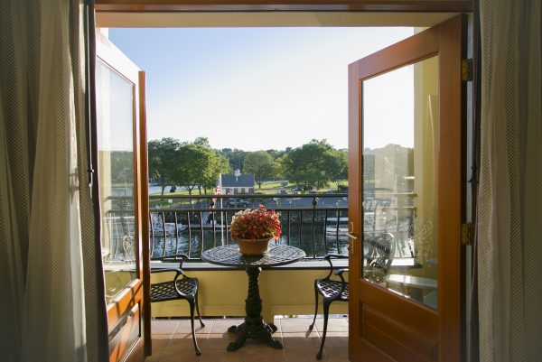 View from the Delmar Hotel, overlooking Greenwich Harbor. (Samira Bouaou/Epoch Times)
