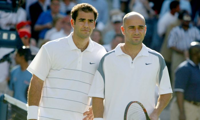 Pete Sampras (L) and Andre Agassi met four times at the US Open—three times in the finals—and Sampras won all four times. (Al Bello/Getty Images)