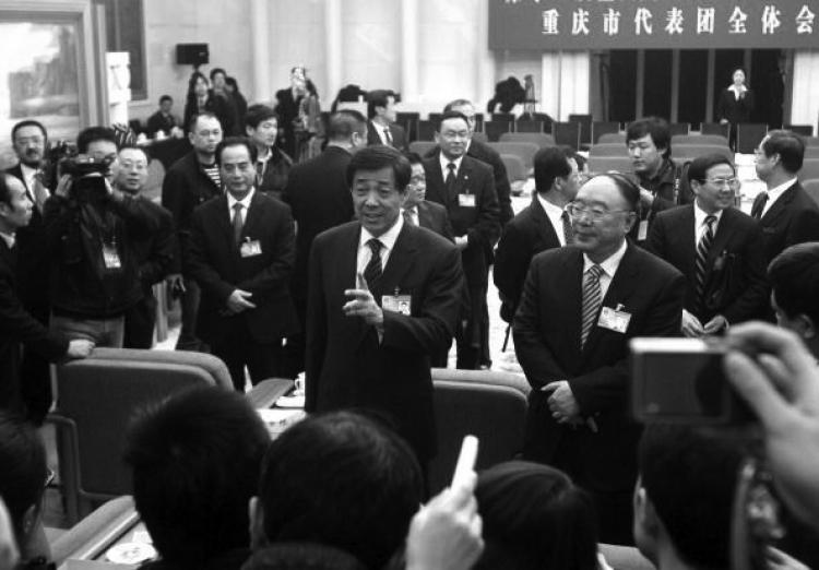 Bo Xilai lectures journalists at a press conference on March 6. (Getty Images)