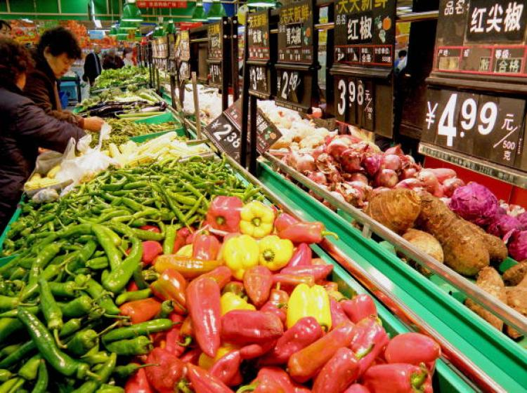 A grocery store in China�s Hubei Province. A survey by the People�s Bank of China found over 50 percent of the Chinese people think prices are �unacceptably high.� (Getty Images)