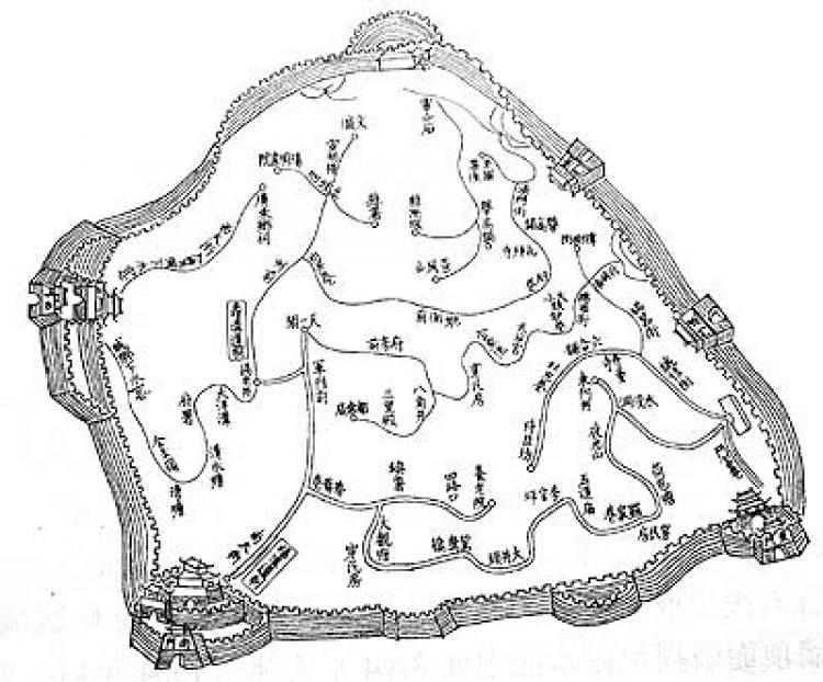 Fushou Ditch layout map in Qing Dynasty. (Epoch Times archive)
