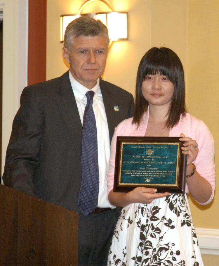 Gao Zhisheng's 17-year-old daughter Grace accepted the International Human Rights Lawyer Award on his behalf at an event held in San Francisco on Friday, Aug. 6. (Huang Yiyan/The Epoch Times)