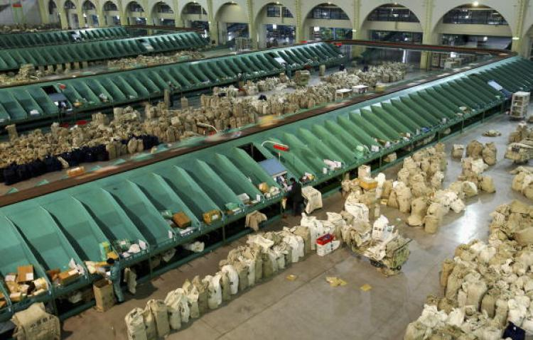 Shanghai Pudong airport mail processing center. (Getty Images)