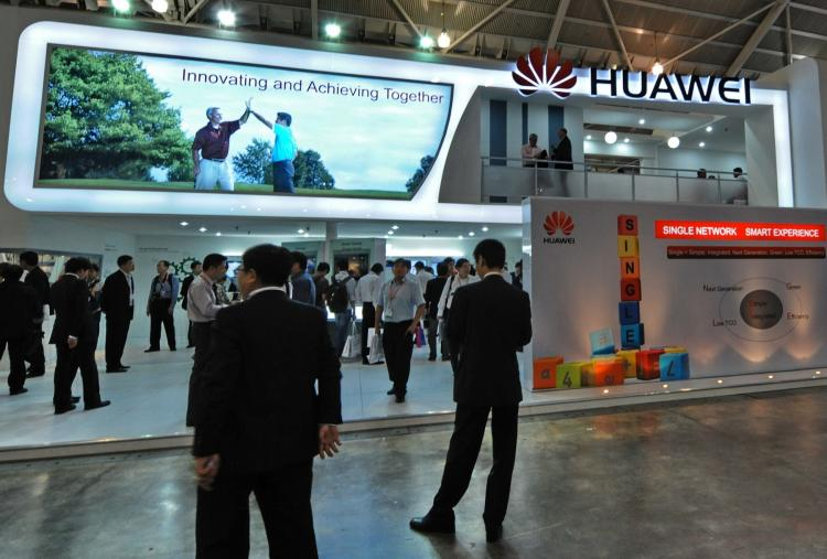 Huawei Technologies booth display of its product during CommunicAsia 2010 conference and exhibtion show in Singapore.   (Roslan Rahman/Getty Images)