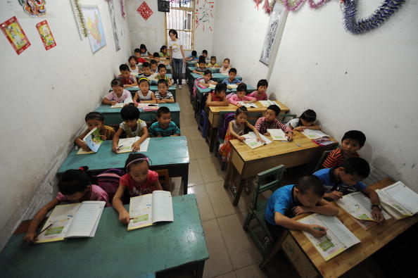 Schoolchildren at a classroom in Hefe in eastern China's Anhui Province (STR/AFP/Getty Images)